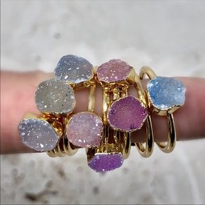 Raw Druzy Crystal Ring